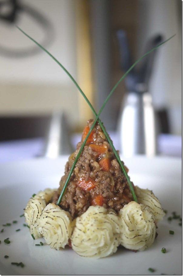 Shepherd's pie with blowtorch mashed potatoes