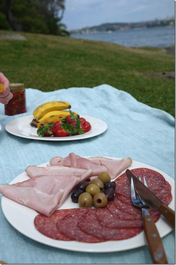 Ham, salami and olives