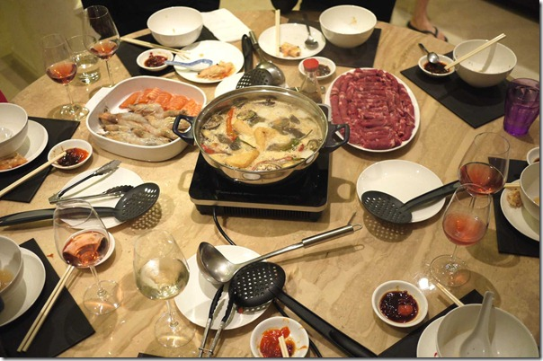 Steamboat with fresh prawns, salmon and raw beef