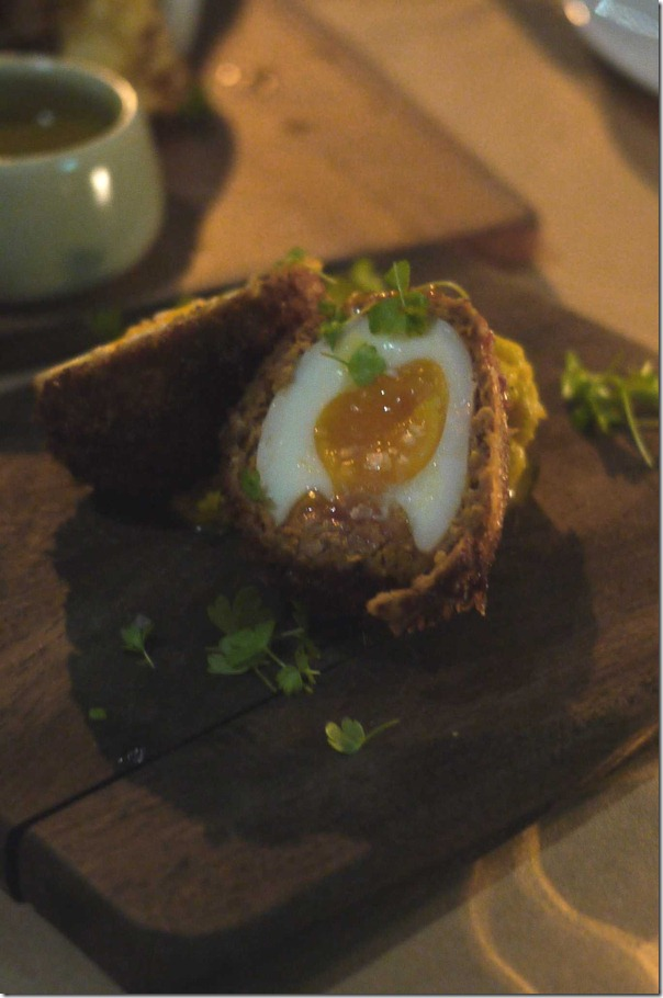 Scotch egg with house-made pork sausage and pear piccalilli $9