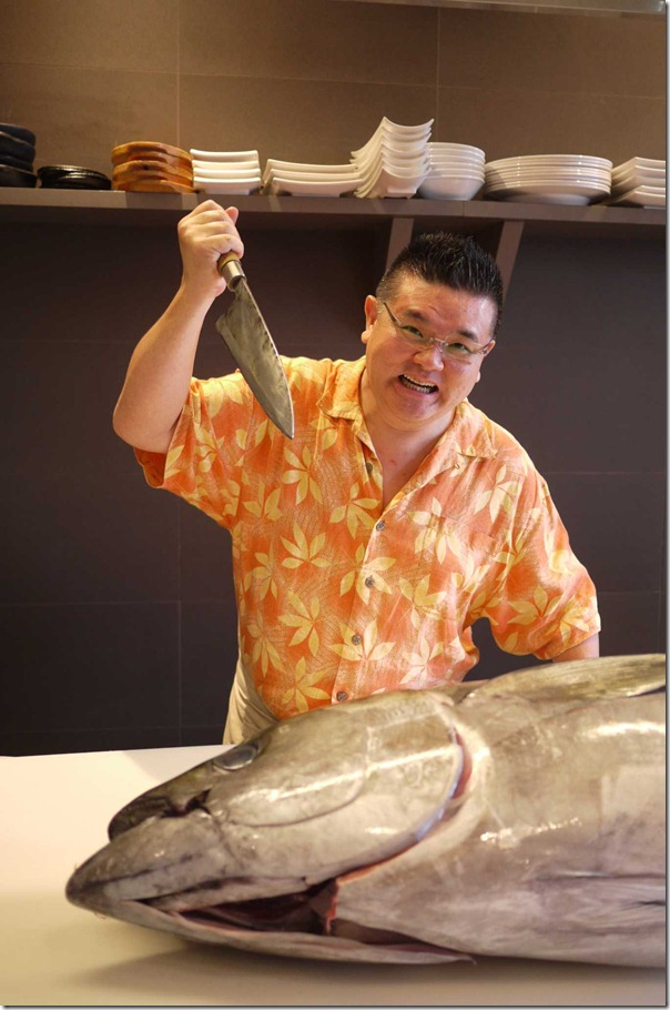 Terry Nishiura clowning around a giant bluefin tuna