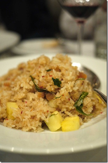 Rice with pineapple, salted fish and laksa leaf