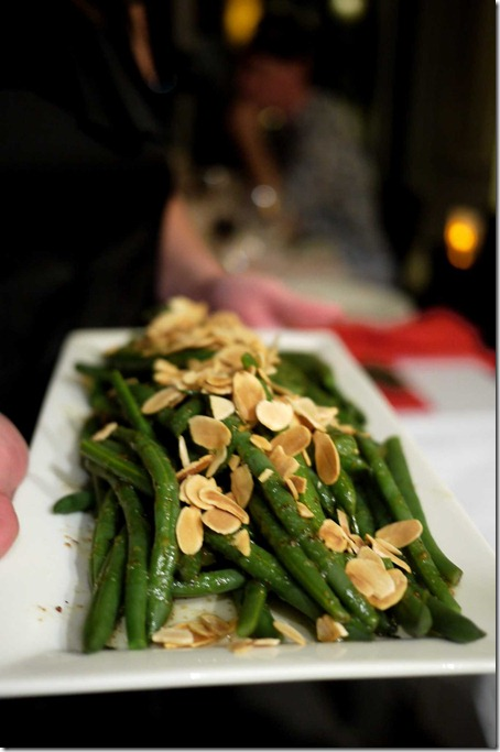 French beans with lemon verbena dressing and roasted almond flakes