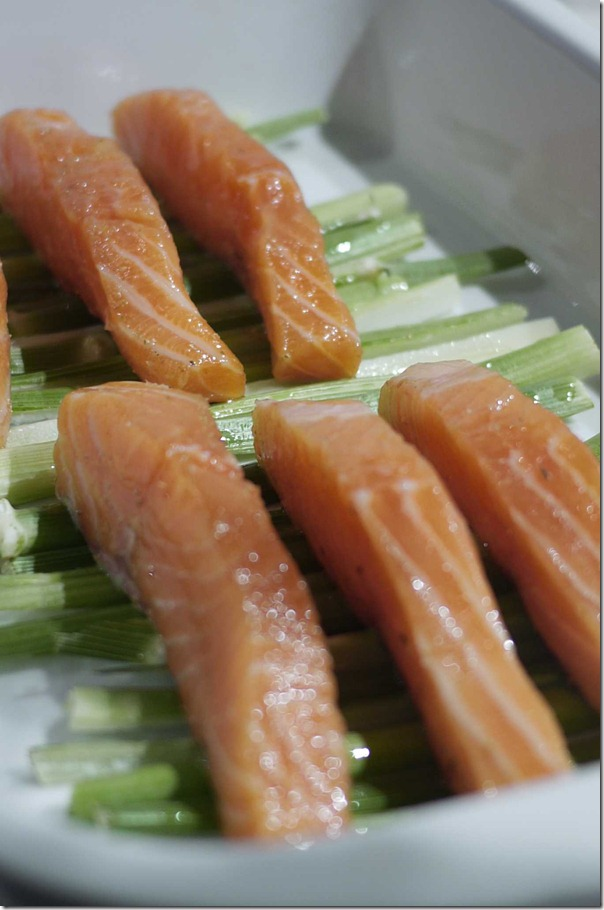 Ocean trout fillets resting on fennel stalks