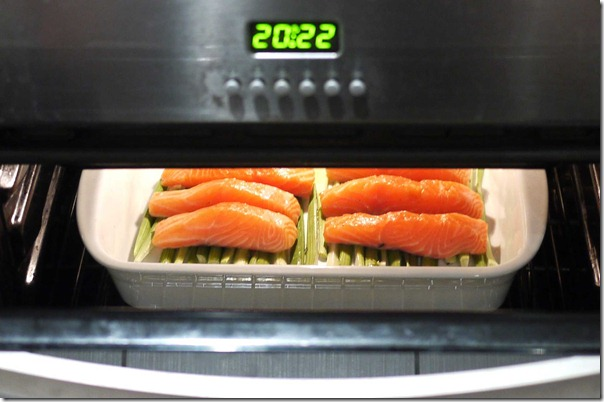 Cooking ocean trout fillets in warm oven with door open