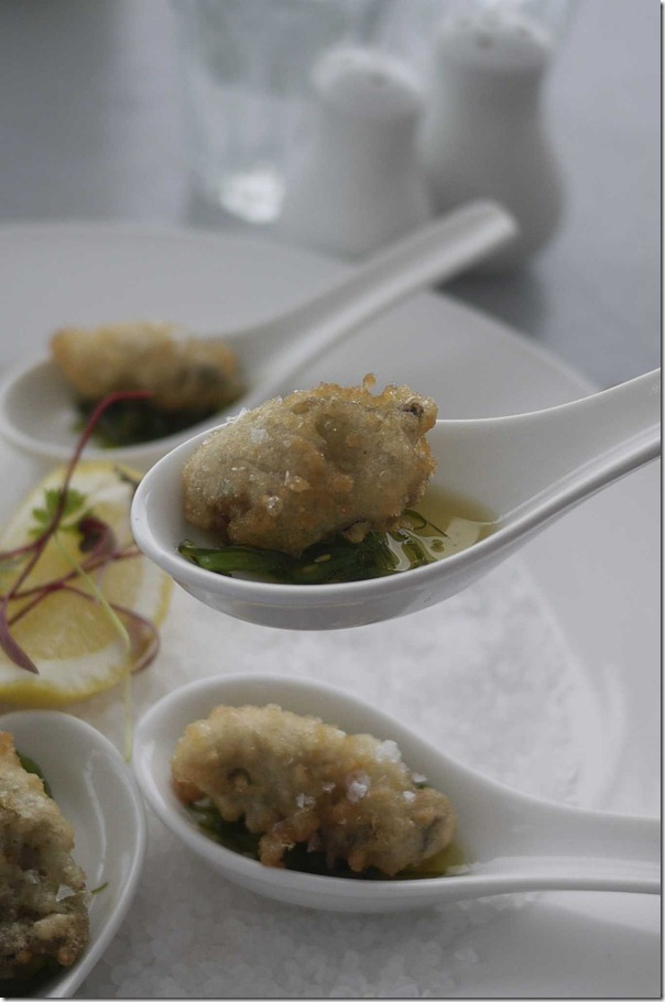 Tempura oysters with seaweed vinaigrette