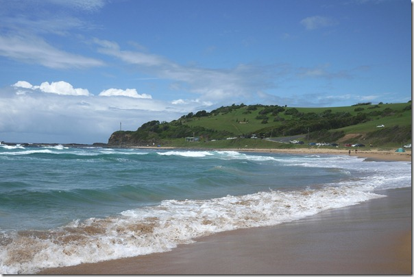 Rolling hills and the surf at Werri beach, Gerringong, South coast