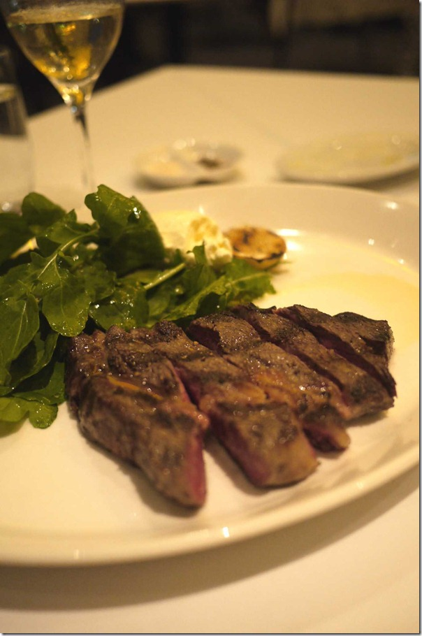 Grilled first light wagyu scotch fillet, rocket, horseradish mascarpone and lemon $45