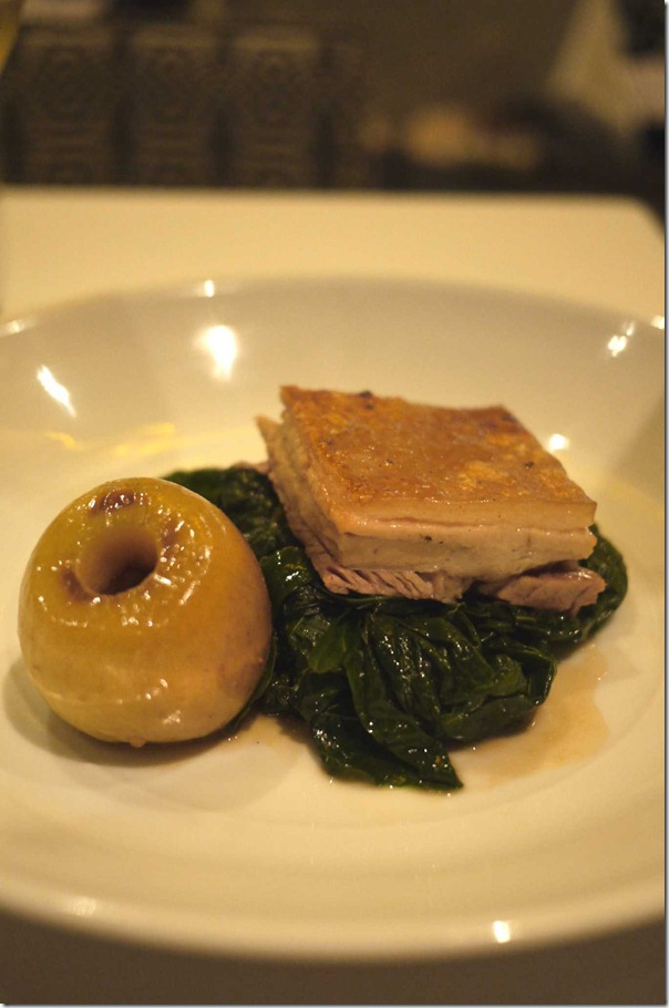Pork belly with roasted apple and calvano nero $38