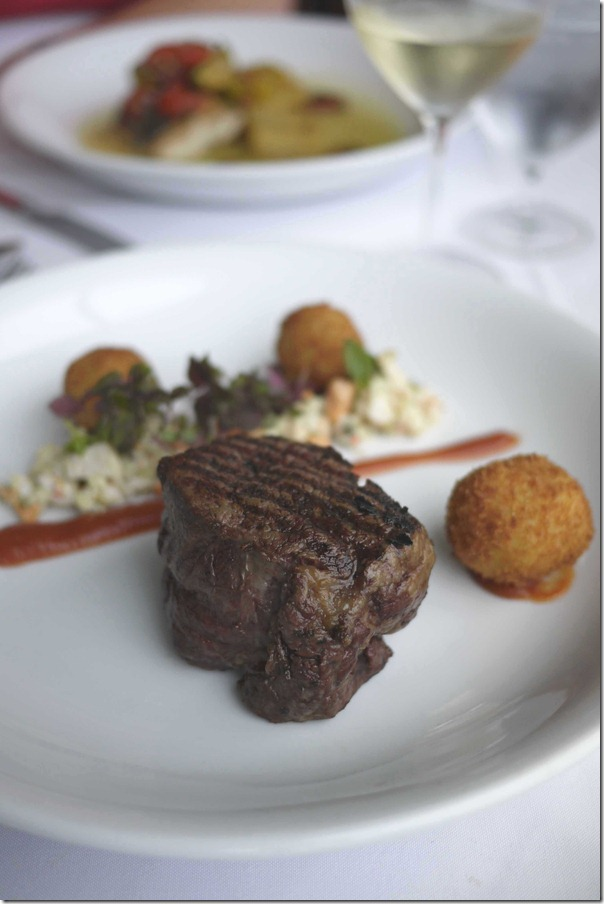 Eye fillet, croquettes and seafood salad
