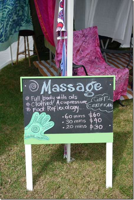 Massage therapy, Moruya markets