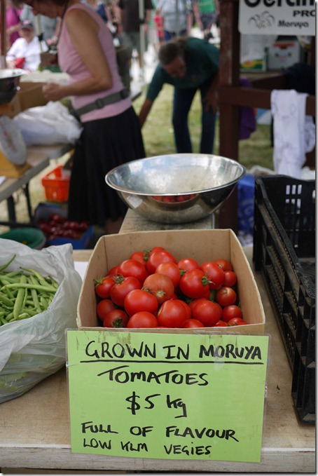 Locally grown tomatoes, Moruya markets