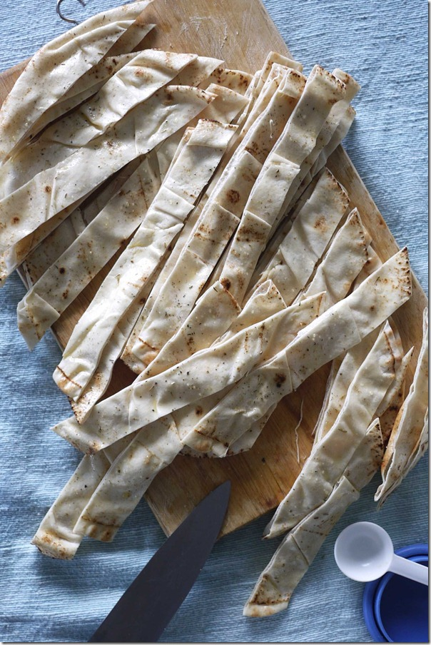 Cut Lebanese bread into 2 cm strips