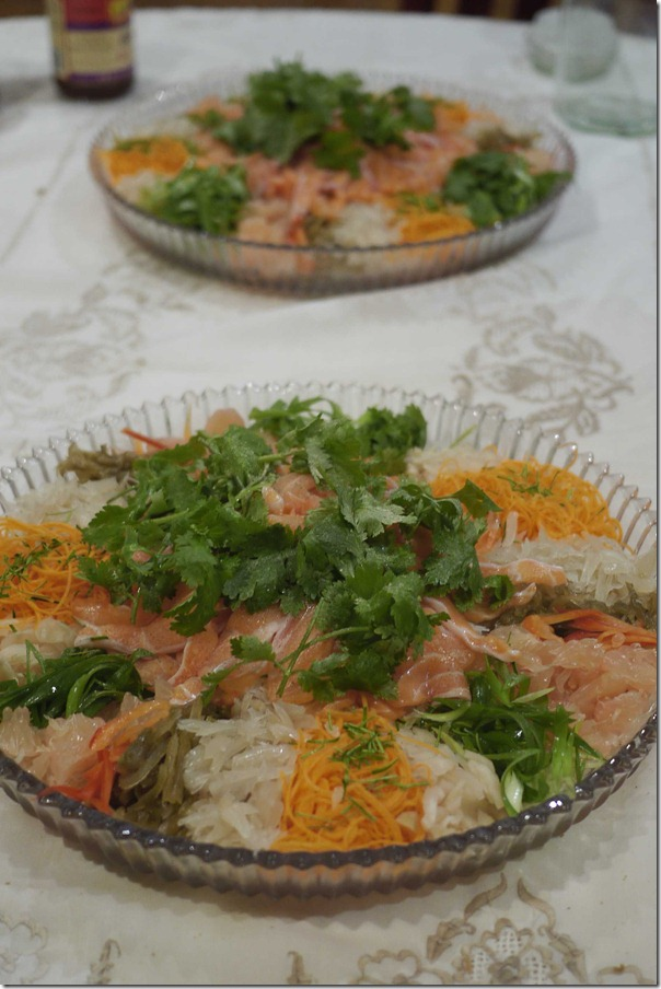 Raw fish salad or yee sang