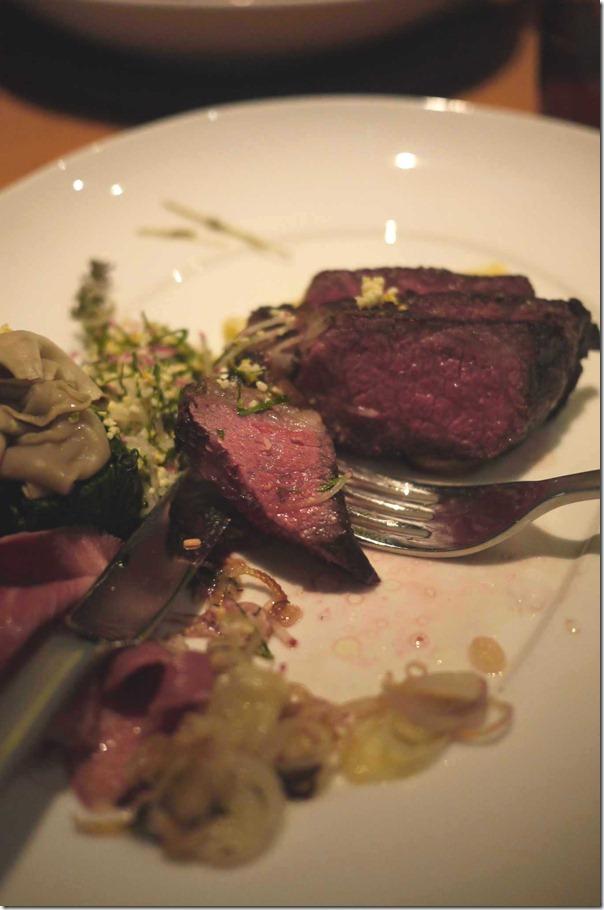 David Blackmore's wagyu rump cap, artichoke, slow-cooked  veal  tongue and dutch cream potato $44
