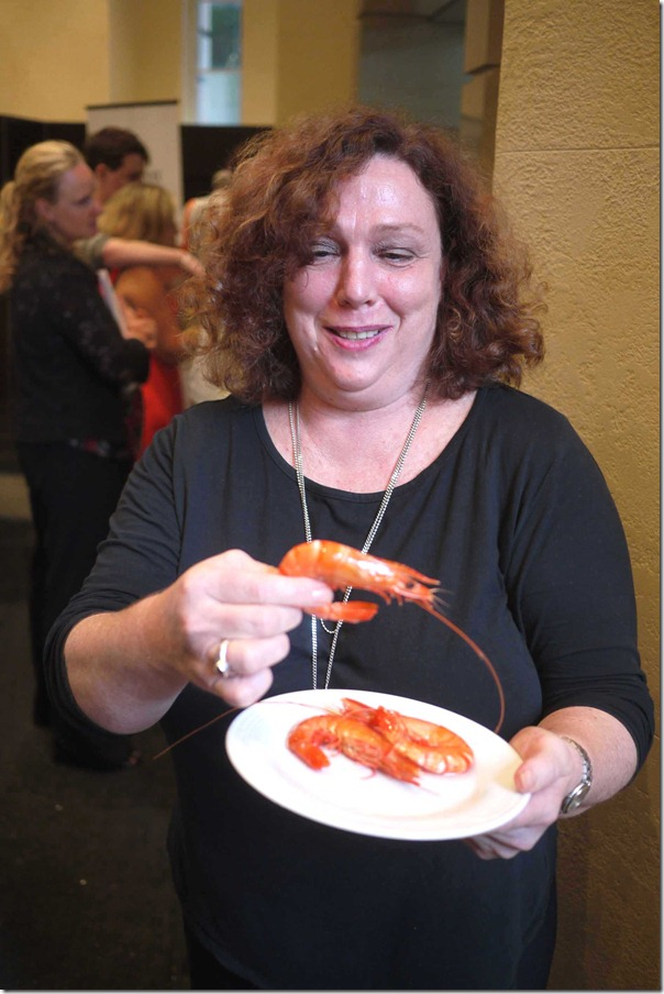 Sue Devlin of Blue Harvest with some Crystal Bay tiger prawns