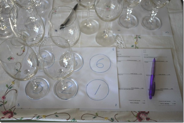 Tasting notes for each participant