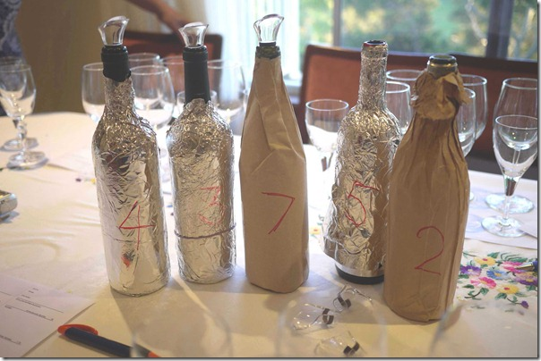 A selection of wines where their identities are concealed for blind tasting