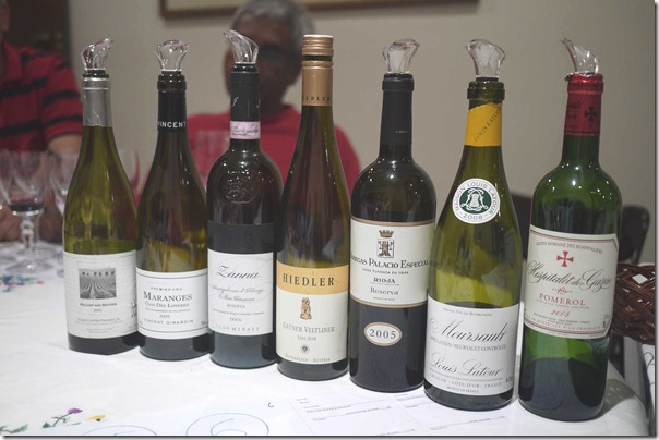 The line up of wines for the evening