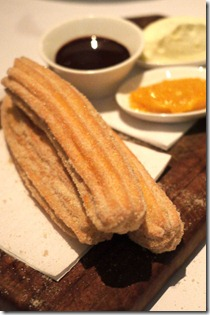 Churros, orange marmalade and chocolate sauce