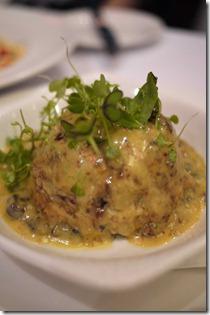 Twice baked porcini mushroom souffle
