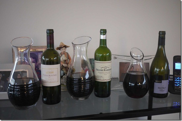 A selection of wines for the evening