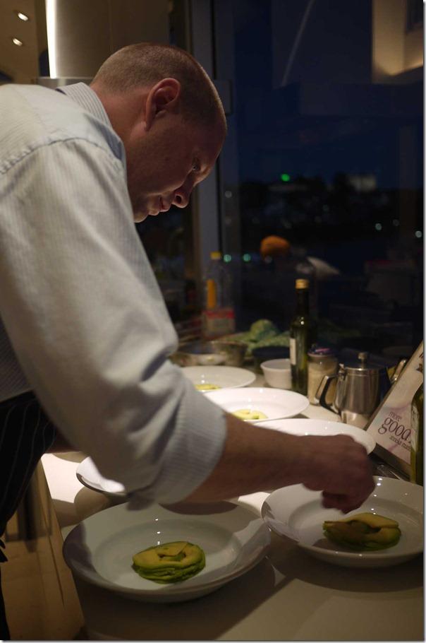 Deft skills: Chef Andrew preparing entree
