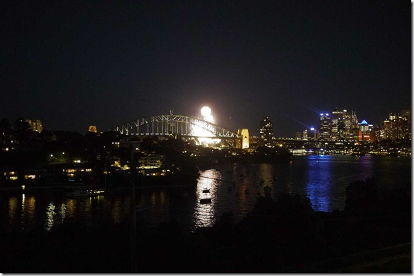 Fireworks at Sydney harbour for the opening of Verdi's La Traviata