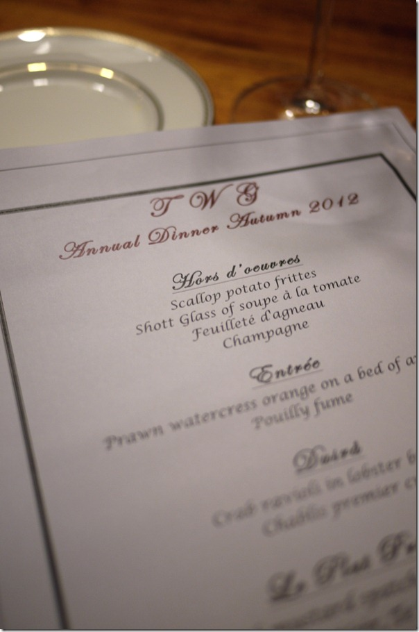 Menu for the evening - TWIGS annual dinner 2012
