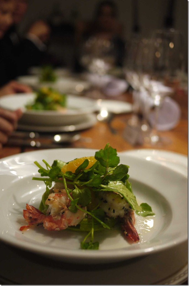 Prawn, watercress, orange and avocado salad