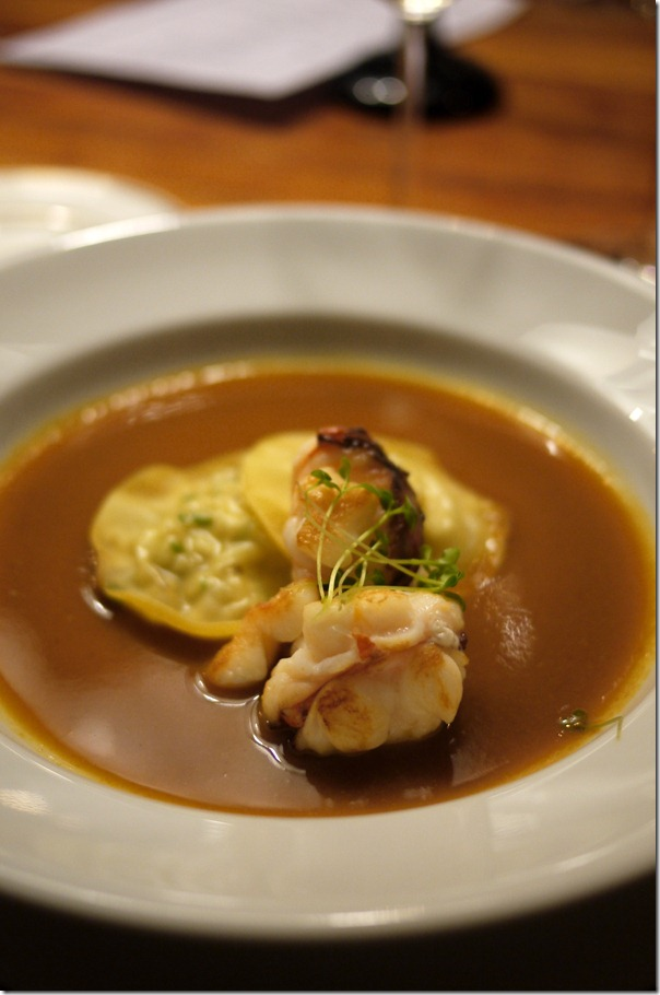 Crab ravioli in lobster bisque
