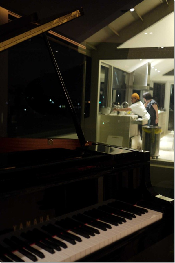 A view of the kitchen theatrics from the keyboard