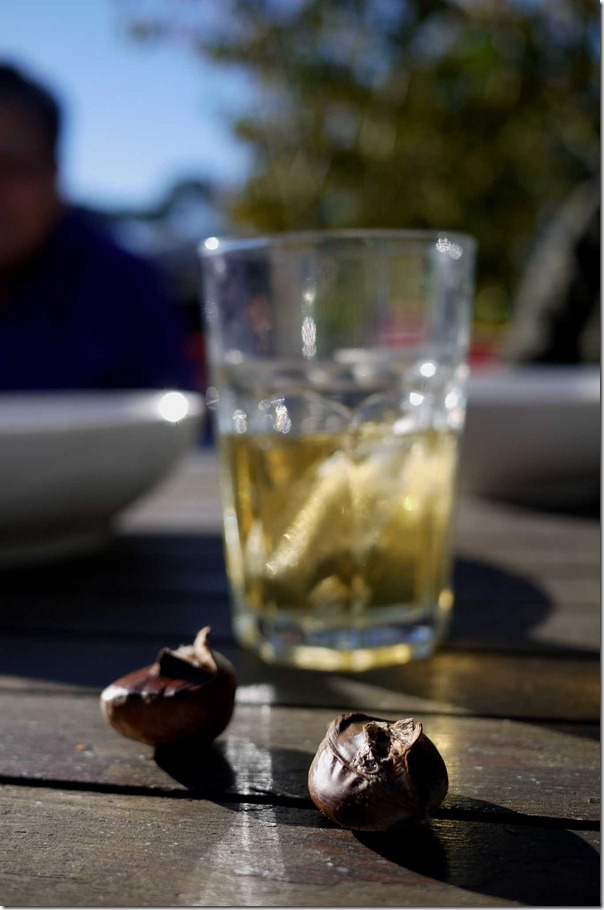 Roasted chestnuts with drinks at sunset