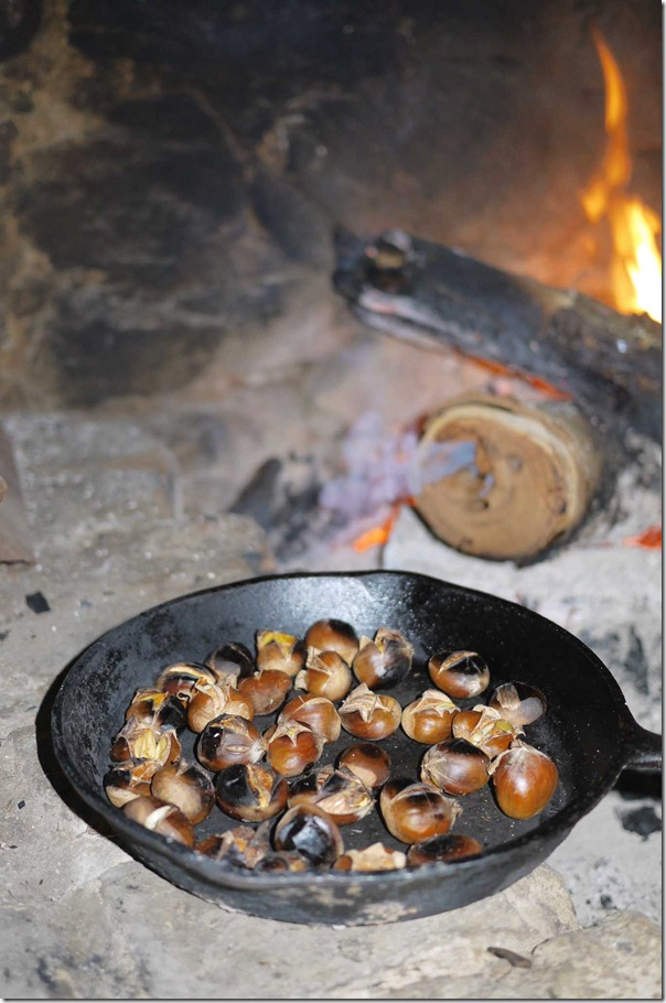 Roasting chestnuts by the fireplace