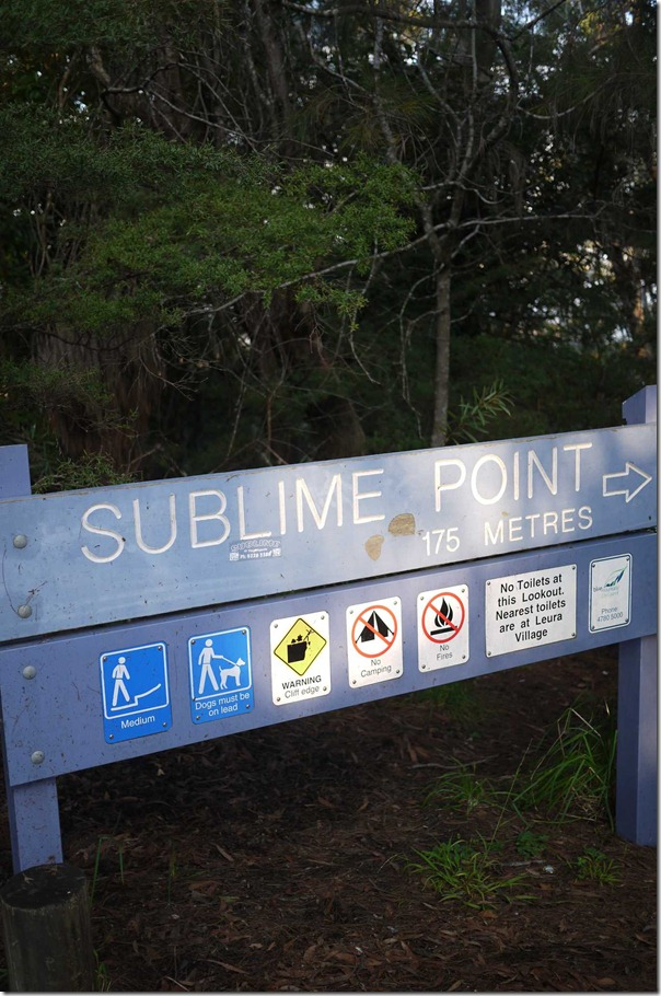 Signage for Sublime Point in Blue Mountains