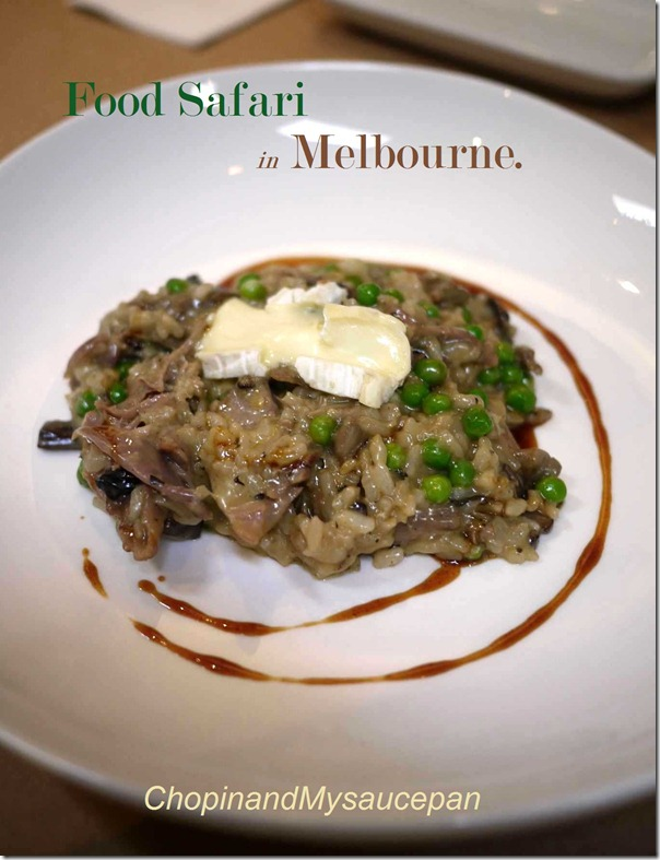 Mushroom and pea risotto, confit duck, triple cream brie $31