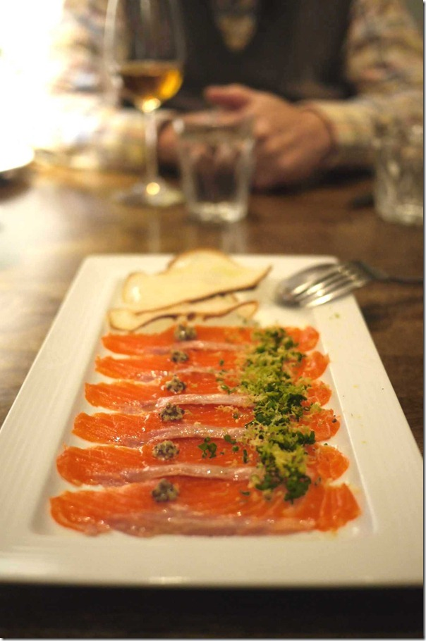 Cured trout with konbu seaweed, lemon, lime, orange zest & EVOO $17.00