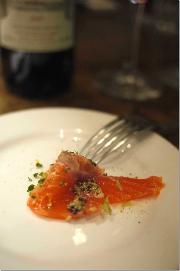 Cured trout with konbu seaweed, lemon, lime, orange zest & EVOO