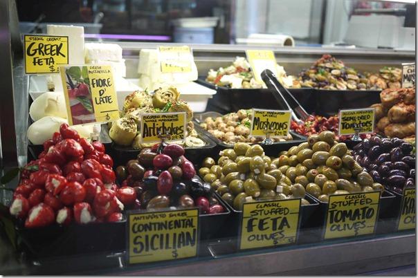 Stuffed olives, stuffed capsicum and Greek feta