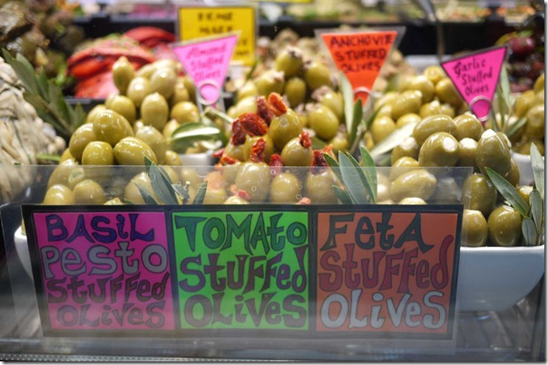 L to R: Stuffed olives - pesto, tomato and feta