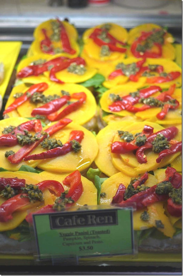 Vegetable panini with pumpkin, capsicum, spinach and pesto