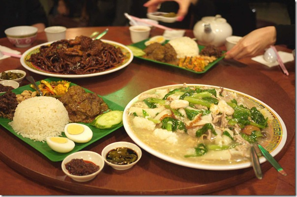 Nasi lemak, Cantonese style stir-fried rice noodles and Malaysian style hokkien noodles