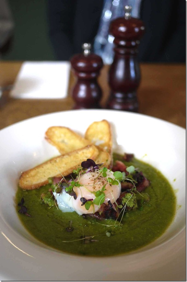 Pea and ham soup with slow cooked hen's egg $16.50