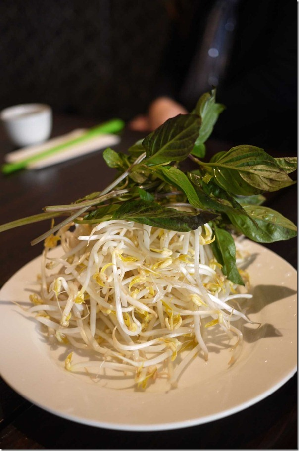 Mint leaves and bean sprouts