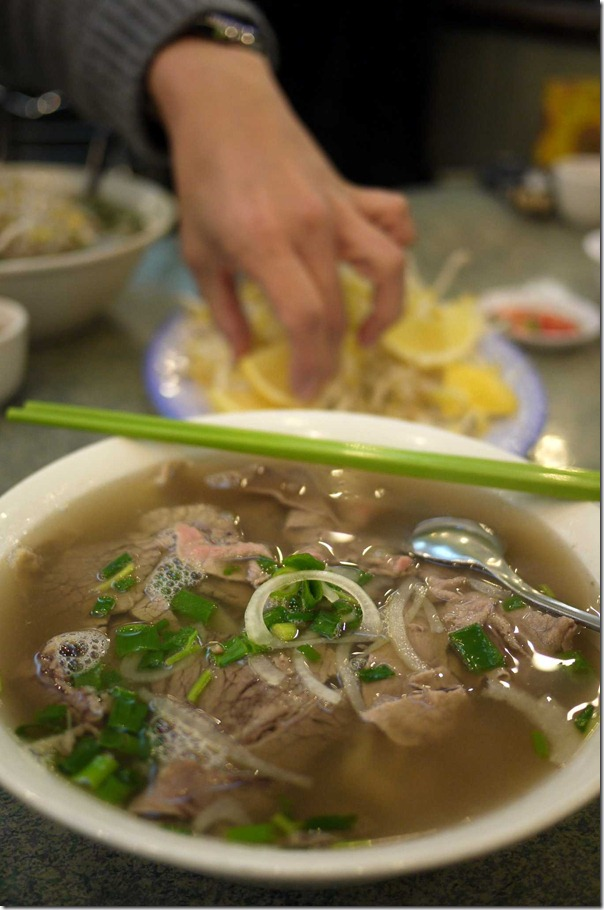 Rare beef and brisket pho