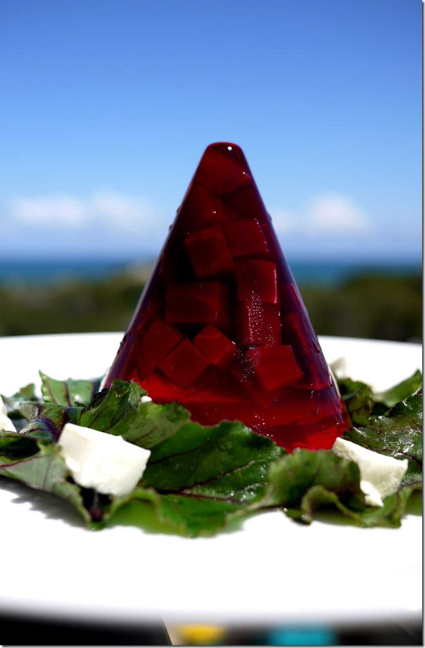 Pinot noir beetroot jelly with goat cheese salad