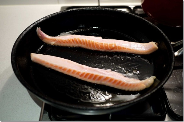 Pan-sear salmon belly skin side down for 90 percent of cooking time