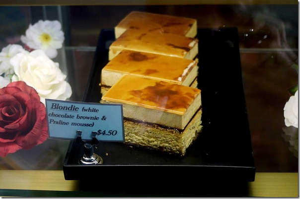 Blondie - white chocolate brownie with praline mousse $4.50