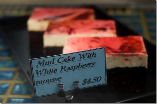 Mud cake with white raspberry mousse $4.50