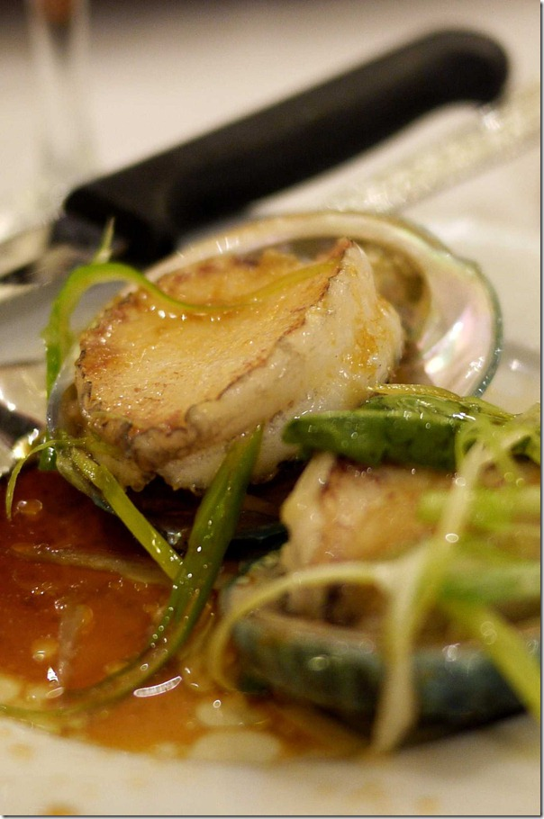Steamed baby abalone with ginger and shallots